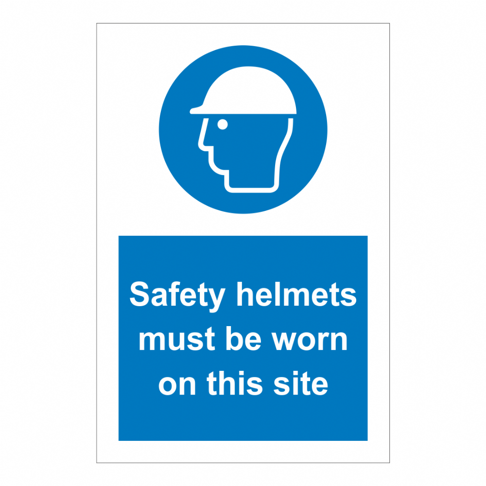 Safety Helmets Must Be Worn On This Site Sign | Safety